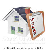 Vector Illustration of a Survey or Check List on a Clip Board Against a 3d White Home by AtStockIllustration