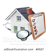 Vector Illustration of a Survey or Check List on a Clip Board and Stethoscope Against a 3d White Home by AtStockIllustration