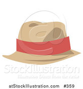 Vector Illustration of a Tan Hat with a Pink Band by AtStockIllustration