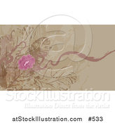 Vector Illustration of a Tan Website Background with Pink Flowers by AtStockIllustration