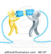 Vector Illustration of a Team of 3d Gold and Silver Men Connecting Electrical Plugs by AtStockIllustration
