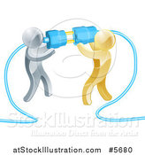 Vector Illustration of a Team of 3d Silver and Gold Men Connecting Electrical Plugs by AtStockIllustration