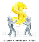Vector Illustration of a Team of 3d Silver Men Carrying a Giant Gold USD Dollar Symbol by AtStockIllustration