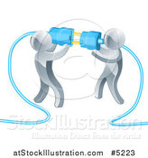 Vector Illustration of a Team of 3d Silver Men Connecting Electrical Plugs by AtStockIllustration