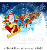 Vector Illustration of a Team of Magic Christmas Reindeer Flying Santa in the Snow by AtStockIllustration