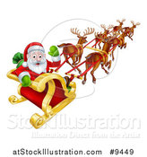 Vector Illustration of a Team of Magic Reindeer Flying Santa in a Sleigh by AtStockIllustration