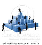 Vector Illustration of a Team of Silhouetted Business Men and Women Assembling a Pyramid of 3d Blue Cubes by AtStockIllustration
