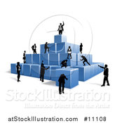 Vector Illustration of a Team of Silhouetted Business Men and Women Climbing a Pyramid of 3d Blue Cubes by AtStockIllustration
