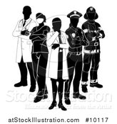 Vector Illustration of a Team of Silhouetted Emergency and Rescue Workers by AtStockIllustration