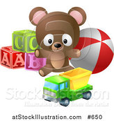 Vector Illustration of a Teddy Bear with Alphabet Blocks, a Ball and a Truck Toy by AtStockIllustration