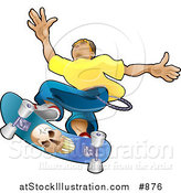 Vector Illustration of a Teenage Caucasian Skater Boy Catching Air on a Blue Skateboard with a Skull on the Bottom by AtStockIllustration