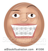 Vector Illustration of a Teeth Braces Emoticon - Tan Version by AtStockIllustration