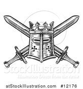 Vector Illustration of a Templar or Knights Great Helm Helmet and Crossed Swords by AtStockIllustration