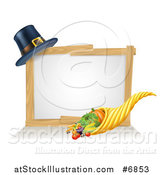 Vector Illustration of a Thanksgiving Cornucopia Horn of Plenty with Produce and a Pilgrim Hat with a Blank White Site by AtStockIllustration