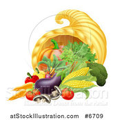 Vector Illustration of a Thanksgiving Fall Cornucopia Horn of Plenty with Produce by AtStockIllustration