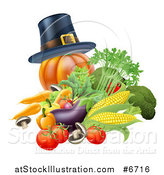 Vector Illustration of a Thanksgiving Pumpkin with a Pilgrim Hat and Produce by AtStockIllustration