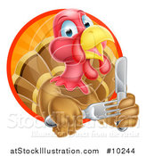 Vector Illustration of a Thanksgiving Turkey Bird Holding Silverware in a Sunset Circle by AtStockIllustration