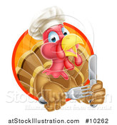 Vector Illustration of a Thanksgiving Turkey Bird Wearing a Chef Hat and Holding Silverware, in a Sunset Circle by AtStockIllustration