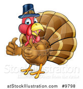 Vector Illustration of a Thanksgiving Turkey Bird Wearing a Pilgrim Hat and Giving Two Thumbs up by AtStockIllustration