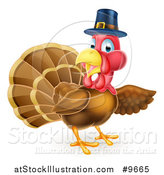 Vector Illustration of a Thanksgiving Turkey Bird Wearing a Pilgrim Hat and Presenting by AtStockIllustration