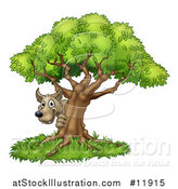 Vector Illustration of a the Bad Wolf Peeking from Behind a Tree, the Three Little Pigs Story by AtStockIllustration