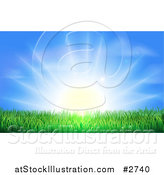 Vector Illustration of a the Sun Shining Brightly over Green Grass by AtStockIllustration