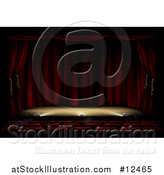 Vector Illustration of a Theater Stage with Foot Lighting by AtStockIllustration