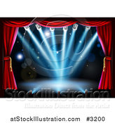 Vector Illustration of a Theater Stage with Red Curtains and Blue Shining Lights by AtStockIllustration