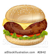 Vector Illustration of a Thick Cheeseburger with Melted Cheese by AtStockIllustration