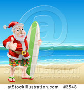 Vector Illustration of a Thumb up Summer Santa with a Surf Board on a Beach by AtStockIllustration