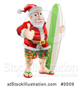 Vector Illustration of a Thumb up Summer Santa with Shorts Sandals and a Surf Board by AtStockIllustration