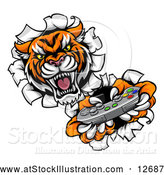 Vector Illustration of a Tiger Mascot Playing a Video Game and Breaking Through a Wall by AtStockIllustration
