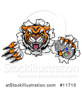 Vector Illustration of a Tiger Mascot Shredding Through a Wall and Holding a Video Game Controller by AtStockIllustration