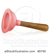 Vector Illustration of a Toilet Plunger on Its Side, with a Reflection by AtStockIllustration