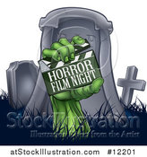 Vector Illustration of a Tombstone and Zombie Hand with a Horror Film Night Clapper Board by AtStockIllustration