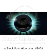 Vector Illustration of a Total Eclipse with Blue Light on Black by AtStockIllustration