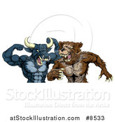 Vector Illustration of a Tough Aggressive Blue Bull Ready to Fight a Brown Bear by AtStockIllustration