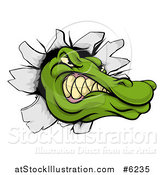 Vector Illustration of a Tough Alligator or Crocodile Head Breaking Through a Wall by AtStockIllustration
