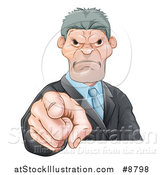 Vector Illustration of a Tough and Angry Caucasian Business Man Pointing Outwards, a Boss Pointing at an Employee by AtStockIllustration