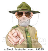 Vector Illustration of a Tough and Angry White Male Drill Sergeant Pointing Outwards and Wearing Sunglasses by AtStockIllustration