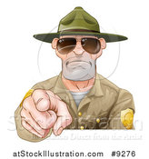 Vector Illustration of a Tough and Angry White Male Forest Ranger Pointing Outwards and Wearing Sunglasses by AtStockIllustration