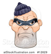 Vector Illustration of a Tough and Angry White Male Robber Face by AtStockIllustration