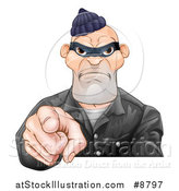 Vector Illustration of a Tough and Angry White Male Robber Pointing Outwards by AtStockIllustration