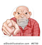 Vector Illustration of a Tough and Angry White Male Skin Head Pointing Outwards by AtStockIllustration