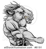 Vector Illustration of a Tough Angry Gray Muscular Horse Man Punching by AtStockIllustration