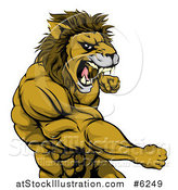 Vector Illustration of a Tough Angry Muscular Lion Man Punching and Roaring by AtStockIllustration