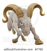 Vector Illustration of a Tough Angry Ram Sheep Charging Forward by AtStockIllustration