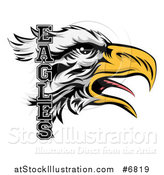 Vector Illustration of a Tough Bald Eagle Mascot Head and Text by AtStockIllustration