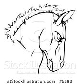 Vector Illustration of a Tough Black and White Horse Head Mascot by AtStockIllustration