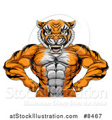 Vector Illustration of a Tough Bodybuilder Tiger Man Flexing His Big Muscles, from the Waist up by AtStockIllustration